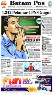 Cover Batam Pos 22 Oktober 2018