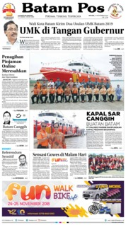 Cover Batam Pos 13 November 2018