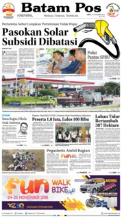 Cover Batam Pos 16 November 2018