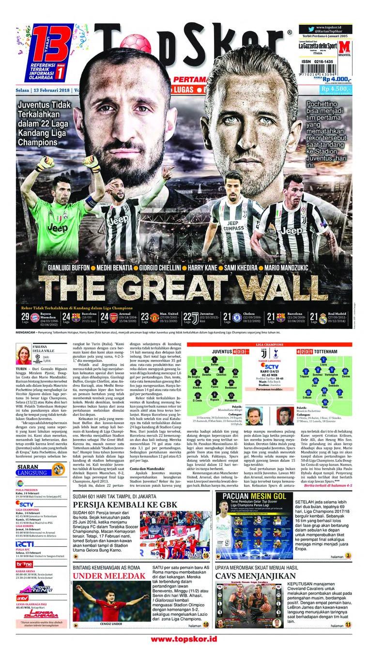 Koran Digital Top Skor 13 Februari 2018