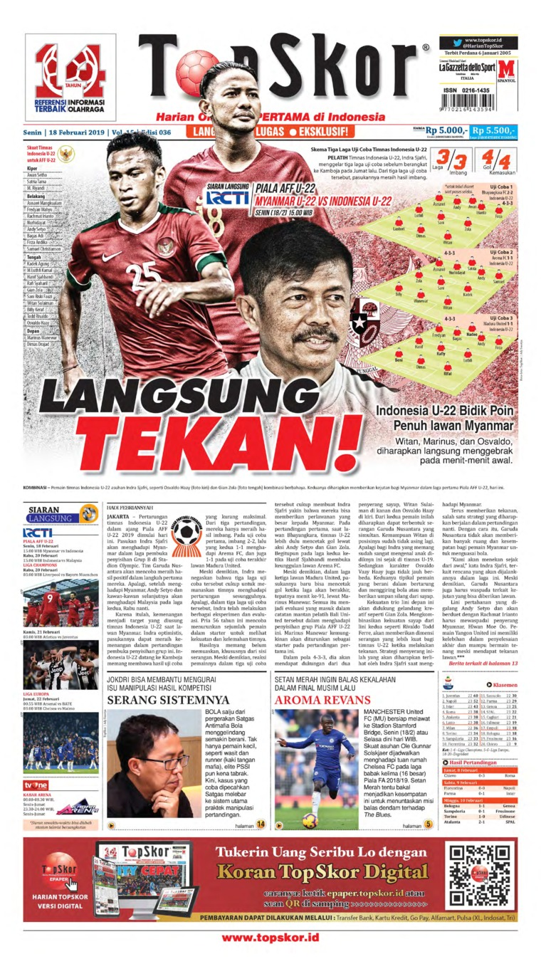 Top Skor Digital Newspaper 18 February 2019