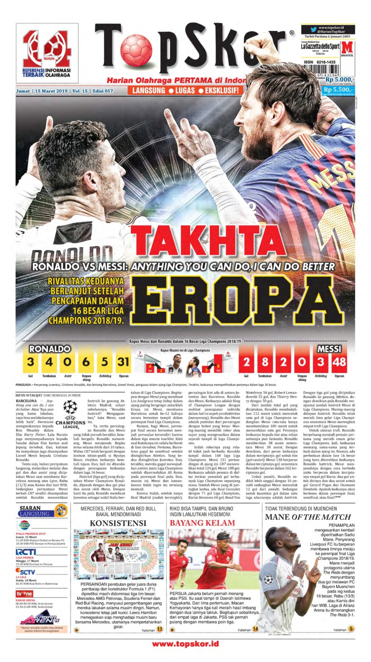 Koran Digital Top Skor 15 Maret 2019