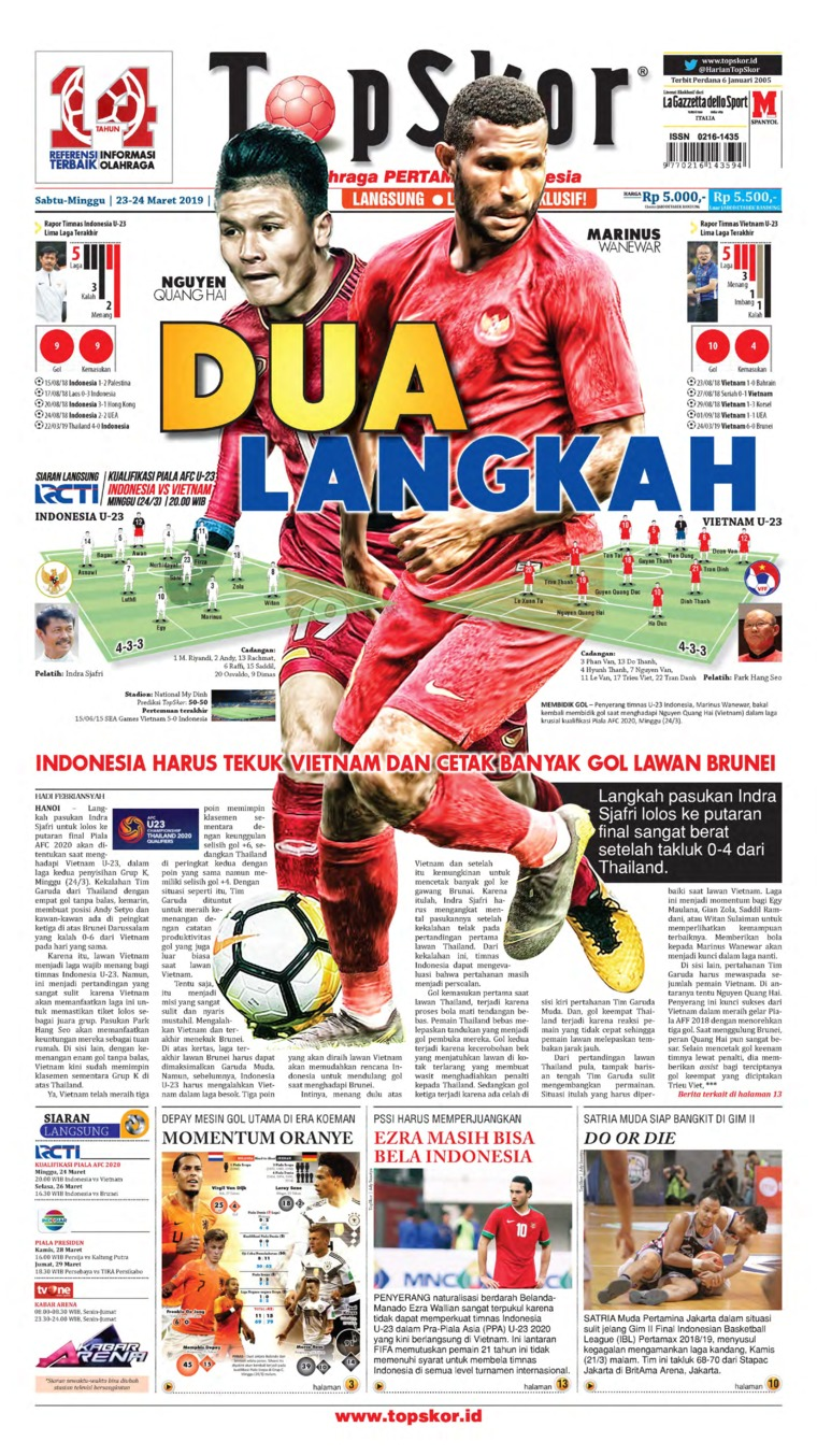 Koran Digital Top Skor 23 Maret 2019