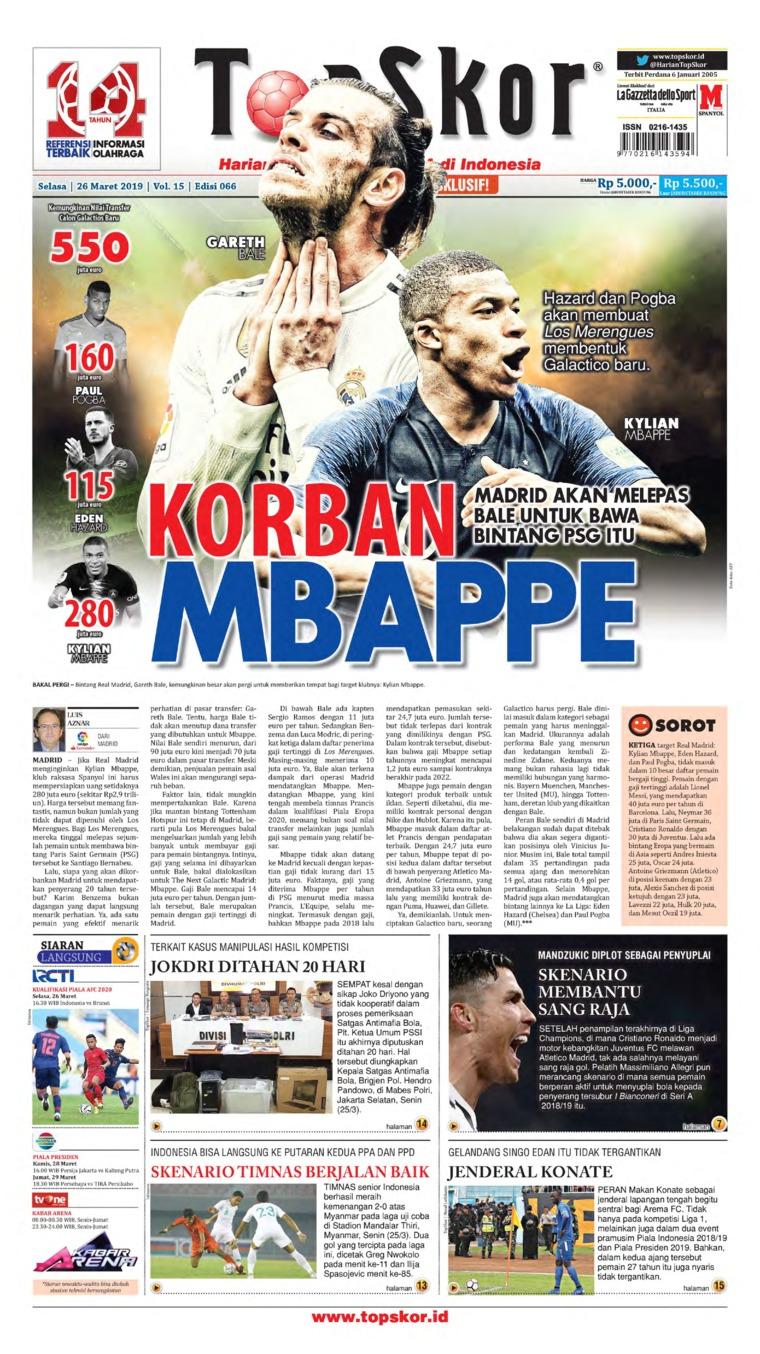Koran Digital Top Skor 26 Maret 2019