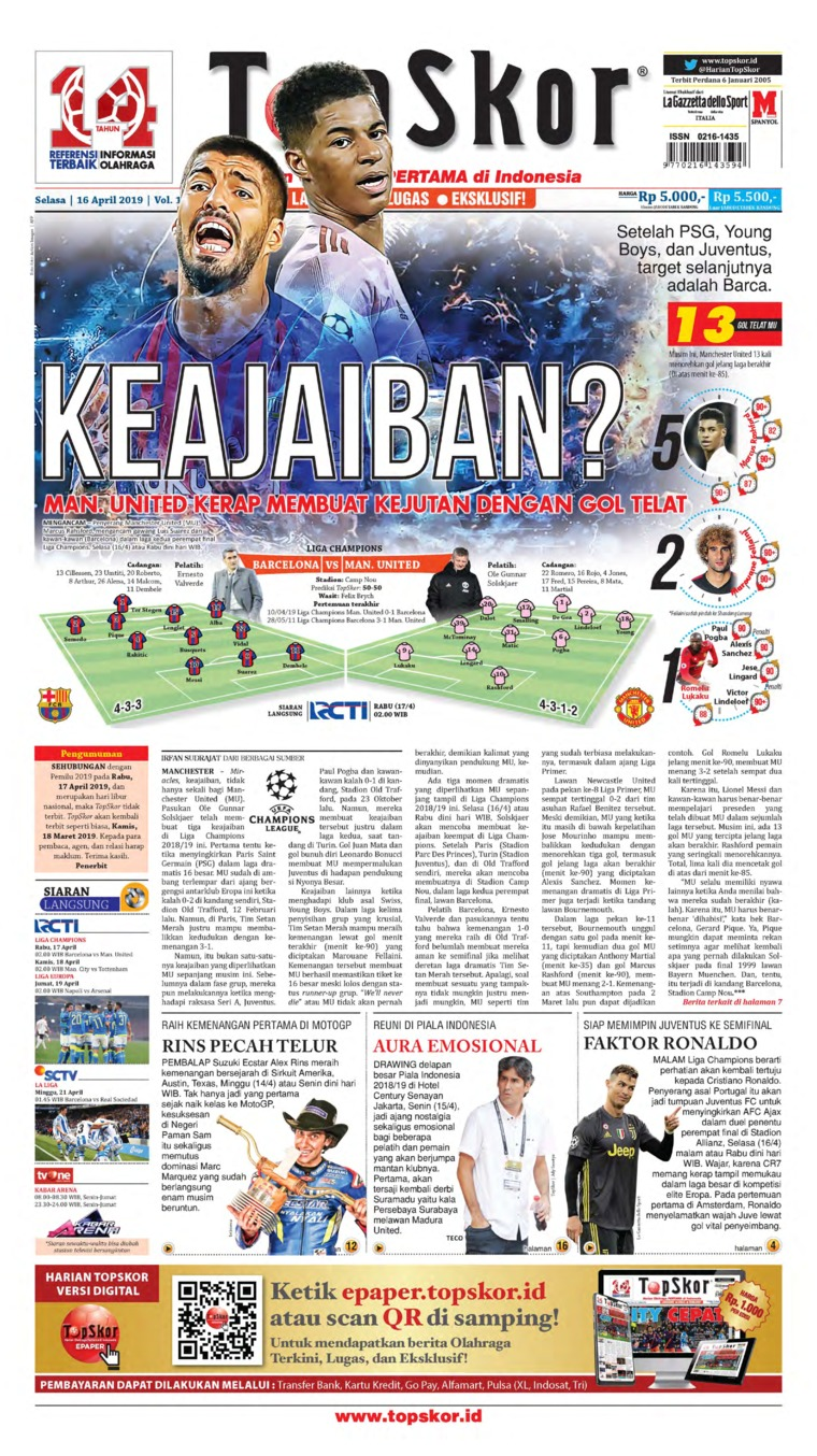 Top Skor Digital Newspaper 16 April 2019
