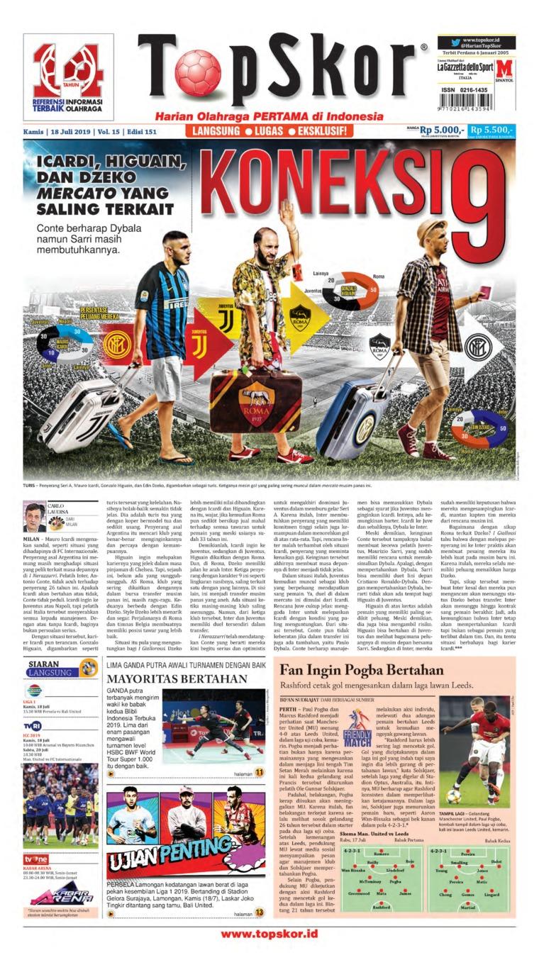 Koran Digital Top Skor 18 Juli 2019