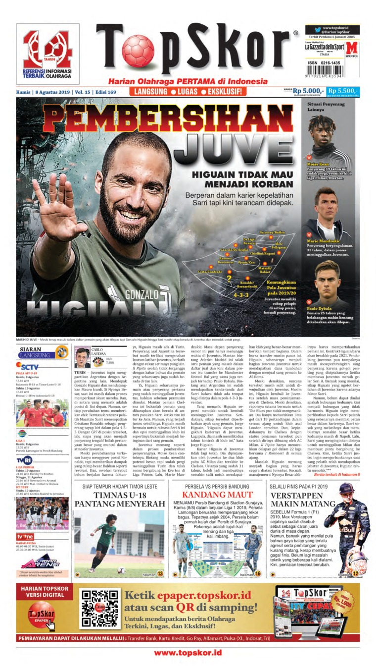 Koran Digital Top Skor 08 Agustus 2019
