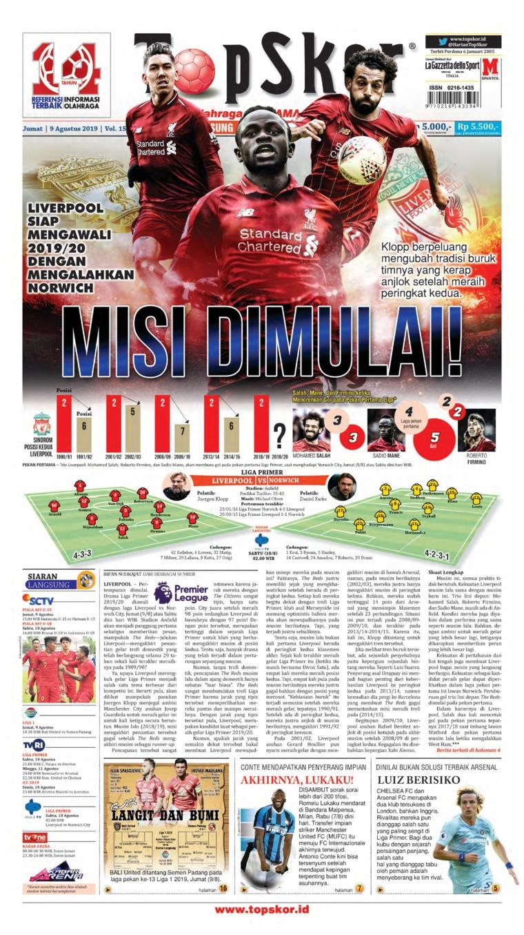 Koran Digital Top Skor 09 Agustus 2019