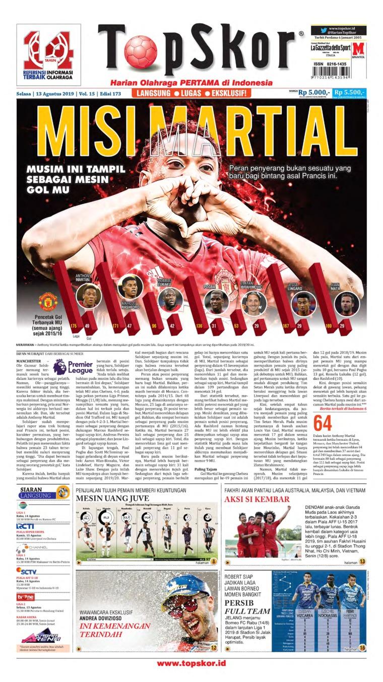 Top Skor Digital Newspaper 13 August 2019