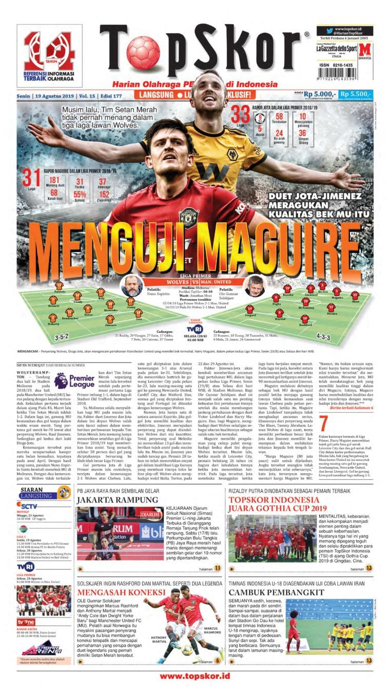 Top Skor Digital Newspaper 19 August 2019