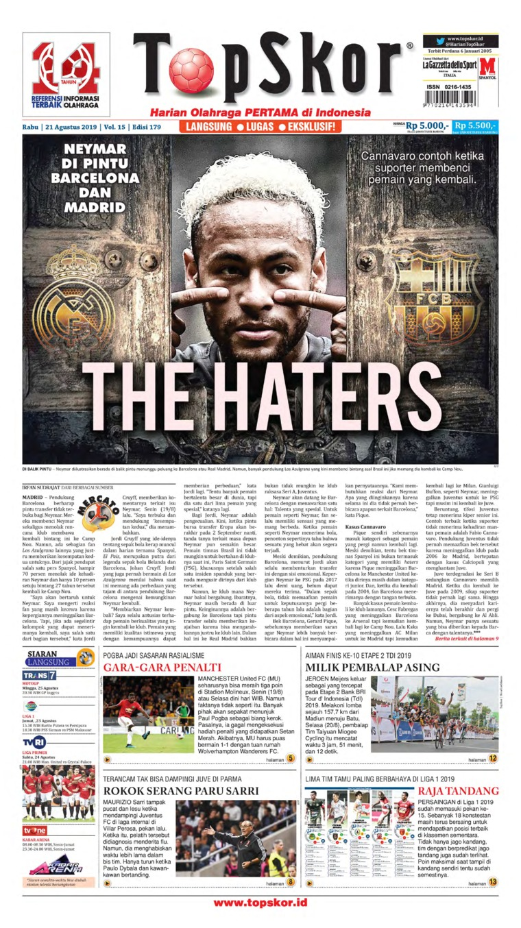 Koran Digital Top Skor 21 Agustus 2019