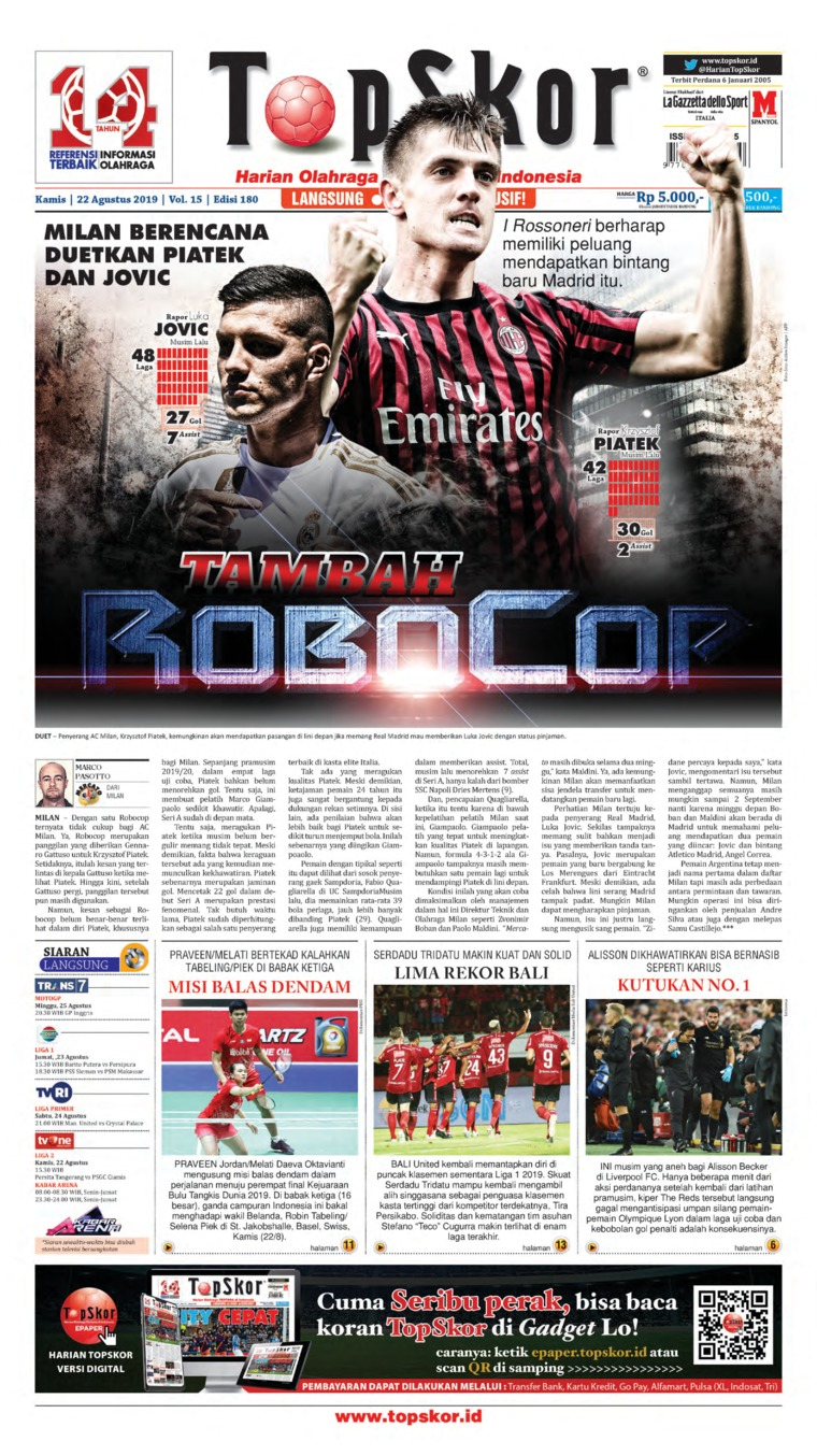 Koran Digital Top Skor 22 Agustus 2019