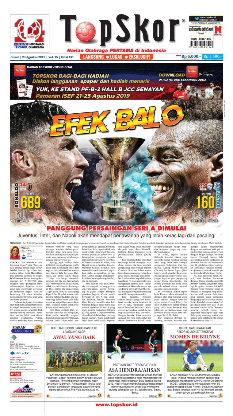 Koran Digital Top Skor 23 Agustus 2019