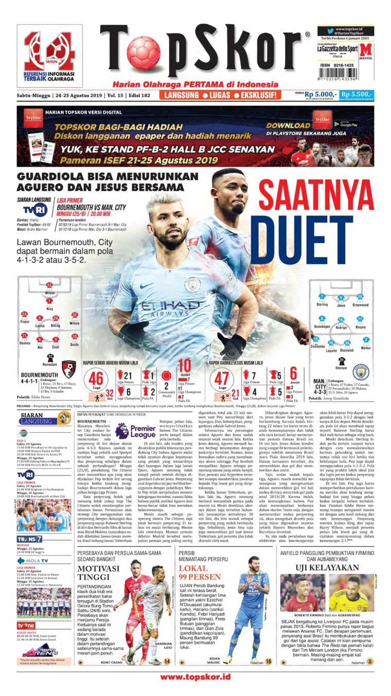 Koran Digital Top Skor 24 Agustus 2019