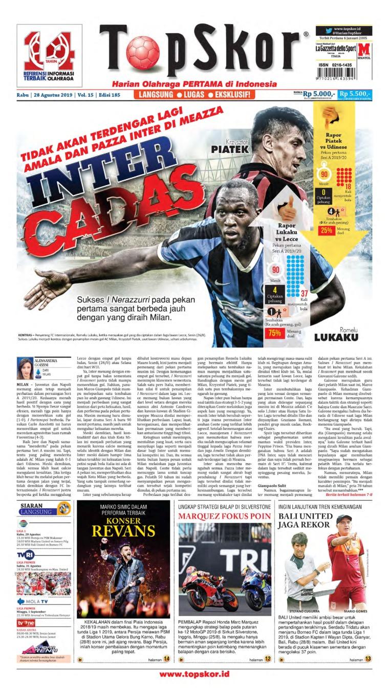 Koran Digital Top Skor 28 Agustus 2019