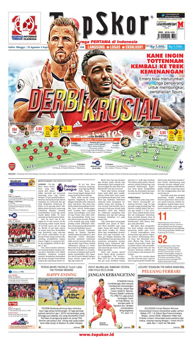 Koran Digital Top Skor 31 Agustus 2019