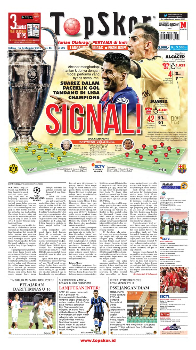 Top Skor Digital Newspaper 17 September 2019