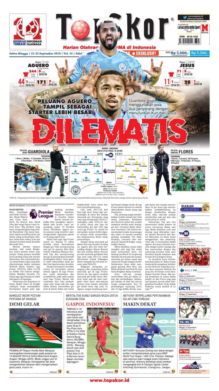 Top Skor Digital Newspaper 21 September 2019