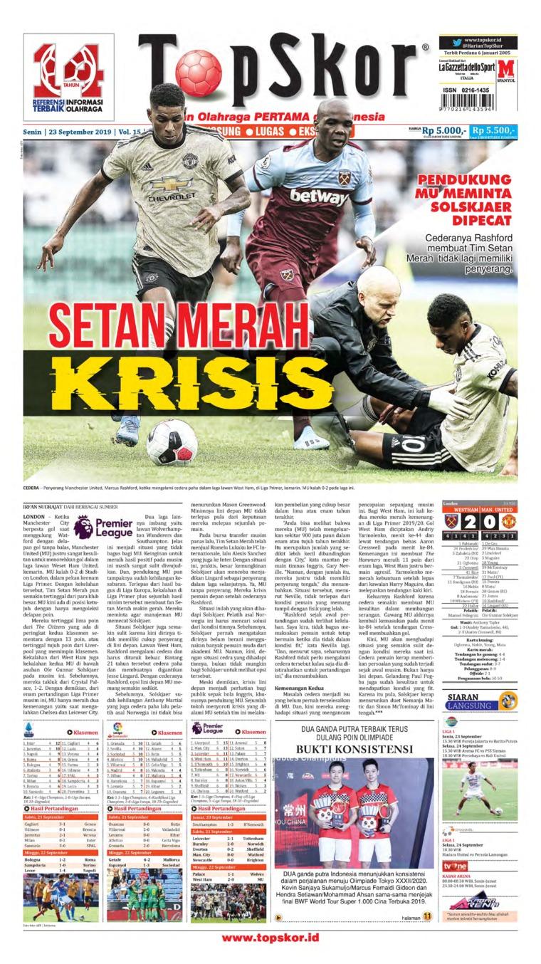 Top Skor Digital Newspaper 23 September 2019
