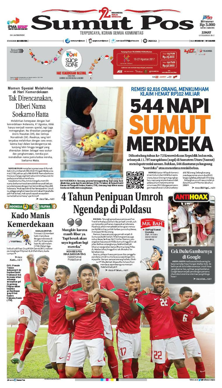 Koran Digital SUMUT POS 18 Agustus 2017