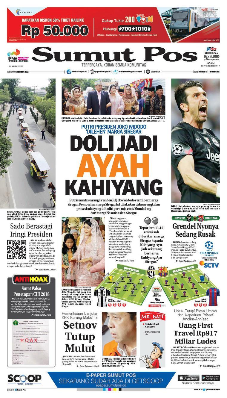 SUMUT POS Digital Newspaper 22 November 2017