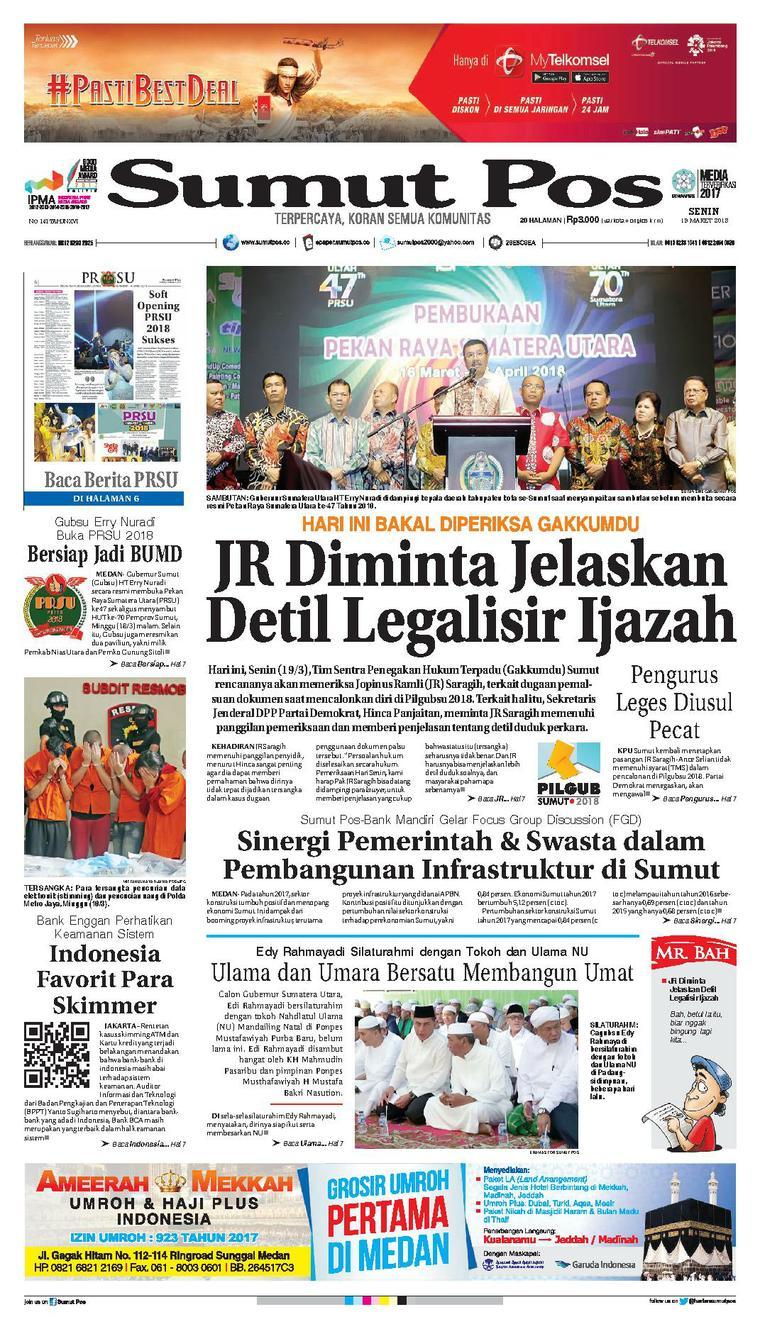 Koran Digital SUMUT POS 19 Maret 2018