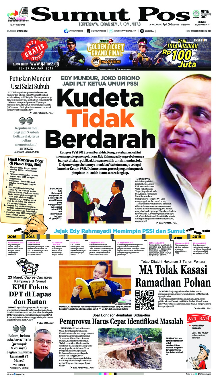 SUMUT POS Newspaper 21 January 2019 - Gramedia Digital