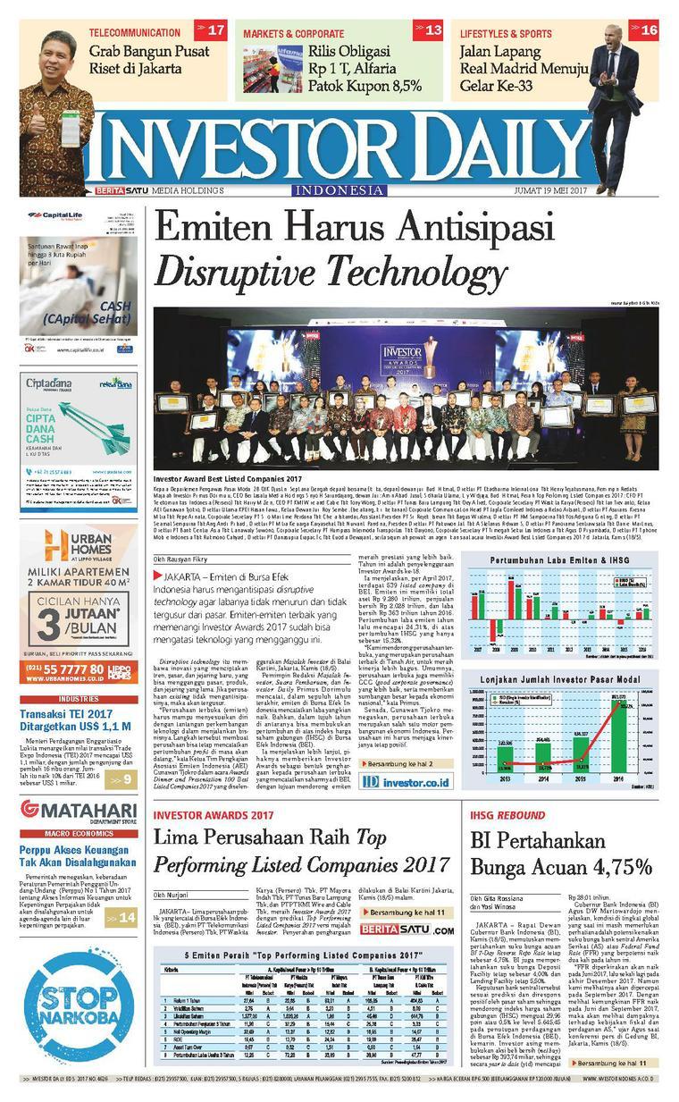 Koran Digital INVESTOR DAILY 19 Mei 2017