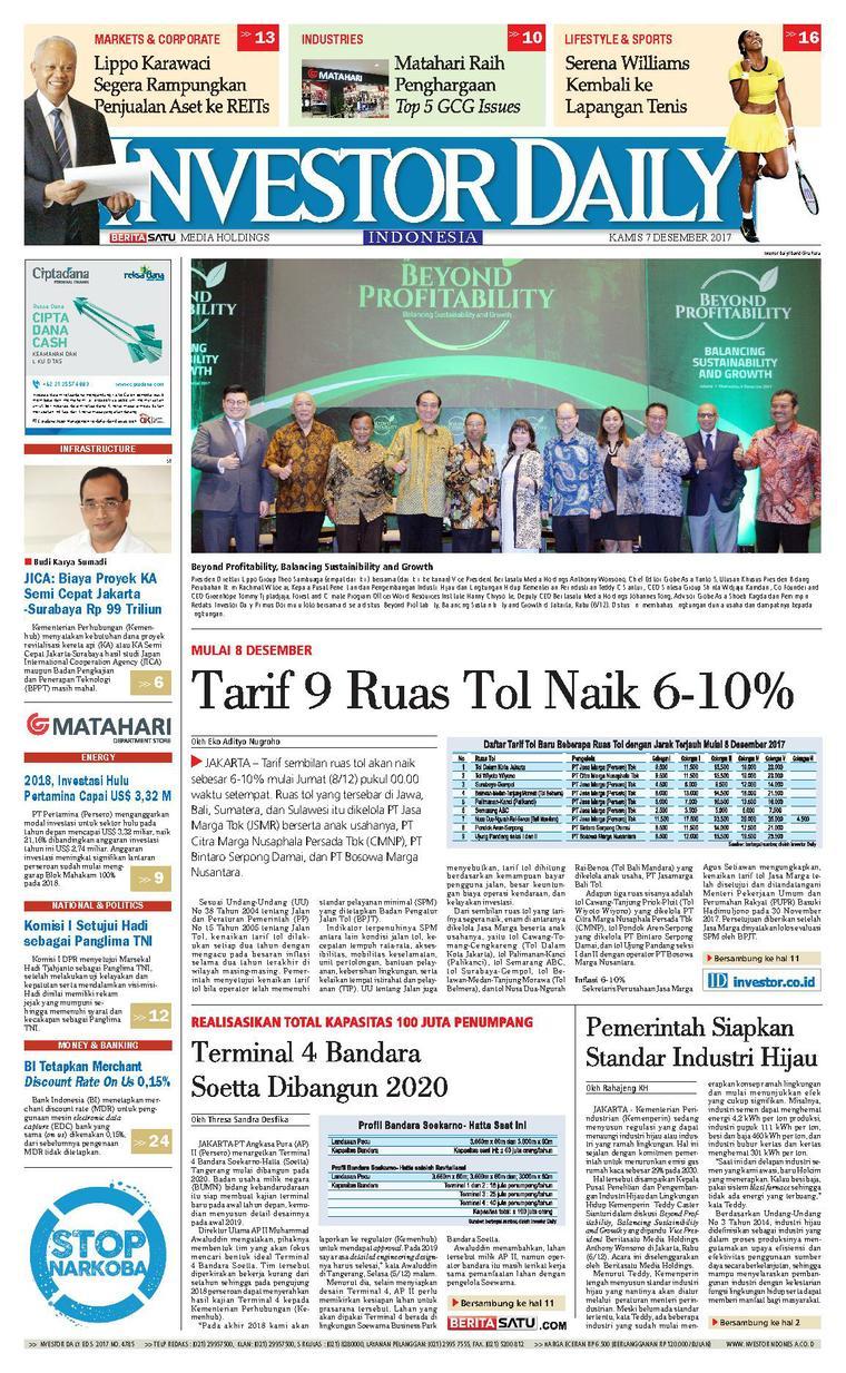 Koran Digital INVESTOR DAILY 07 Desember 2017