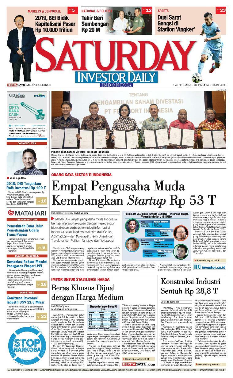 Koran Digital INVESTOR DAILY 13 Januari 2018
