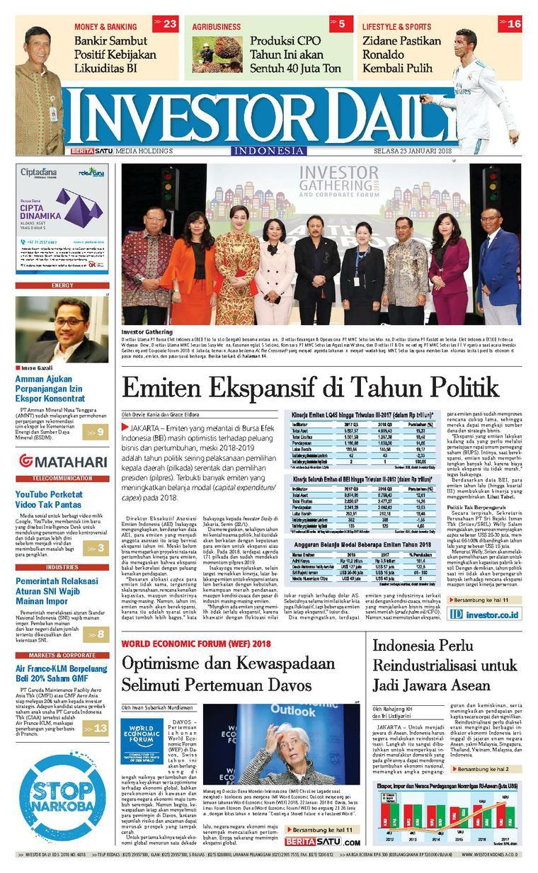 Koran Digital INVESTOR DAILY 23 Januari 2018
