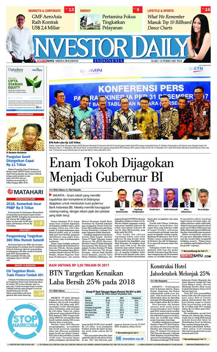 Koran Digital INVESTOR DAILY 14 Februari 2018