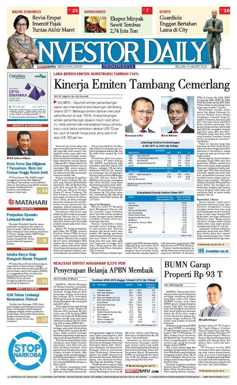 Koran Digital INVESTOR DAILY 13 Maret 2018