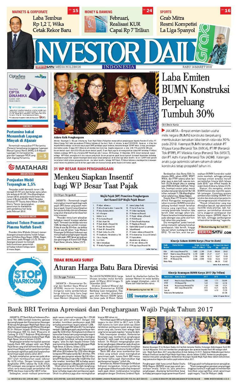 Koran Digital INVESTOR DAILY 14 Maret 2018