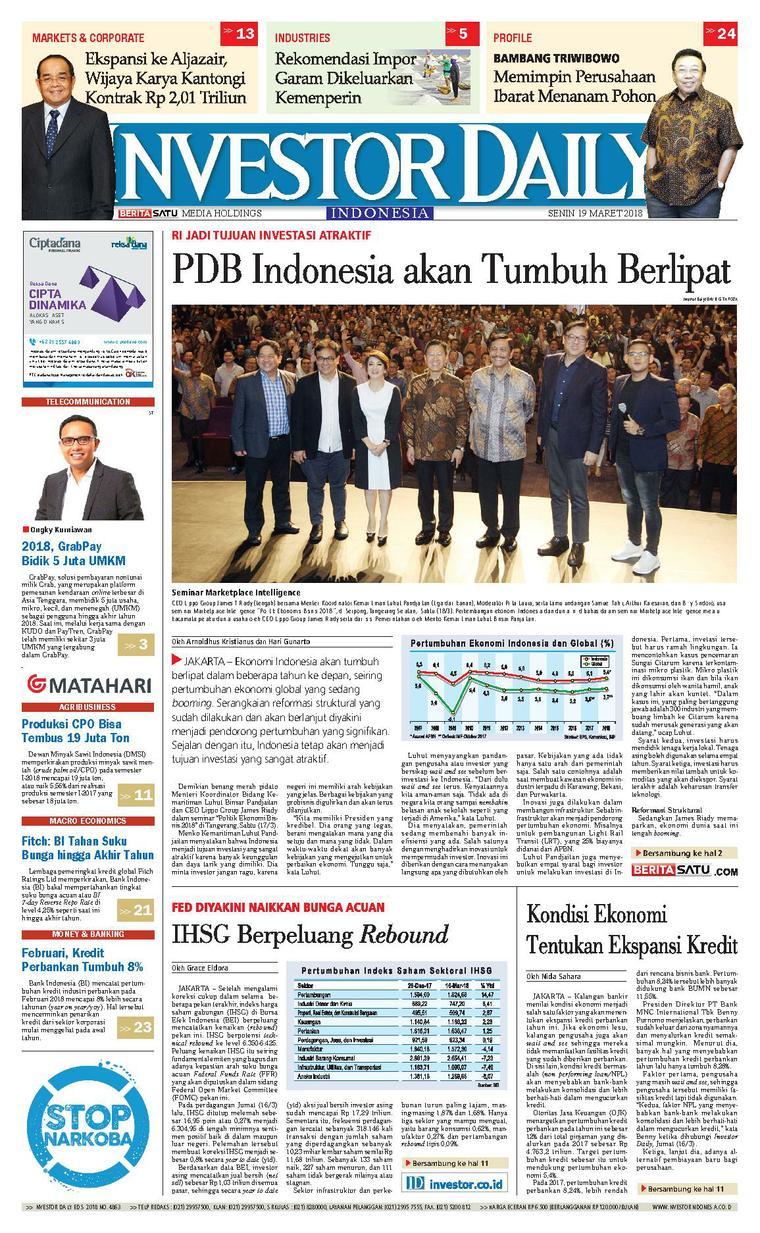 Koran Digital INVESTOR DAILY 19 Maret 2018