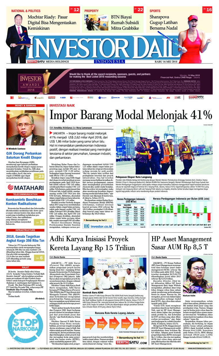 Koran Digital INVESTOR DAILY 16 Mei 2018