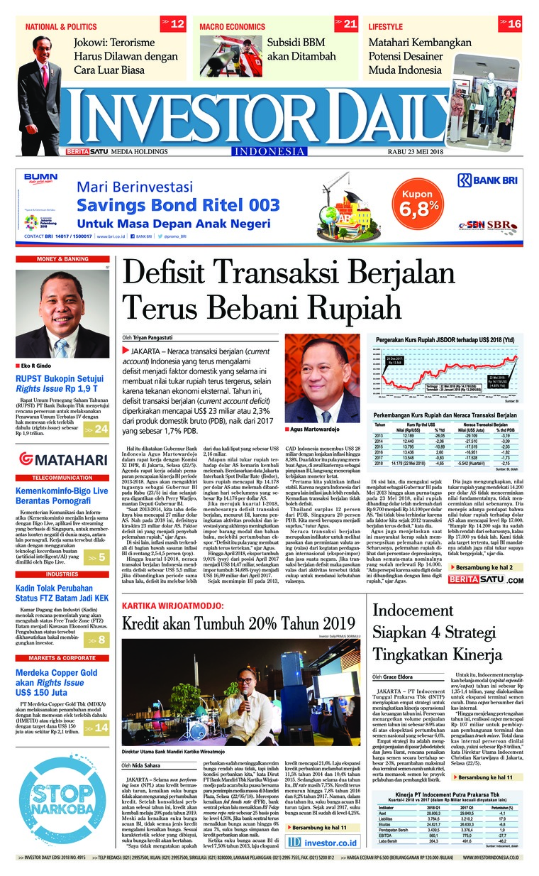 Koran Digital INVESTOR DAILY 23 Mei 2018