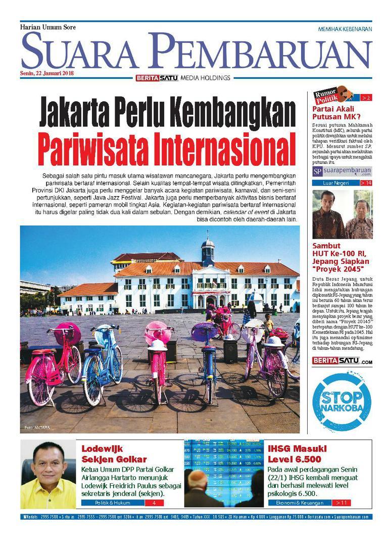 Koran Digital SUARA PEMBARUAN 22 Januari 2018