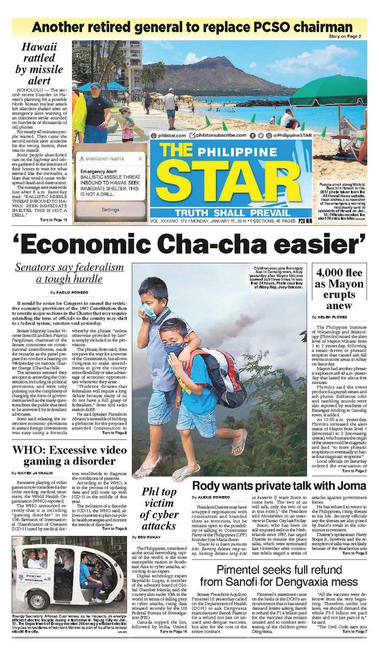 The Philippine Star Newspaper 15 January 2018 - Gramedia Digital