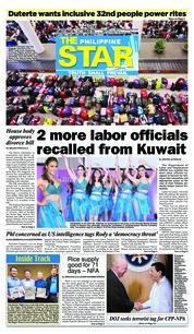 Cover The Philippine Star 22 Februari 2018