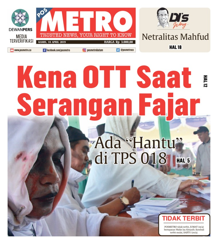 Koran Digital POSMETRO 18 April 2019