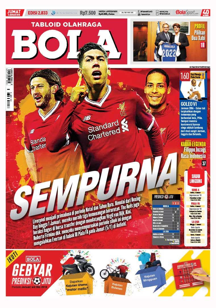 Majalah Digital Tabloid Bola Sabtu ED 2833 Januari 2018