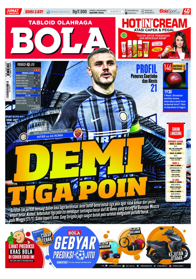 Majalah Digital Tabloid Bola Sabtu ED 2837 Januari 2018
