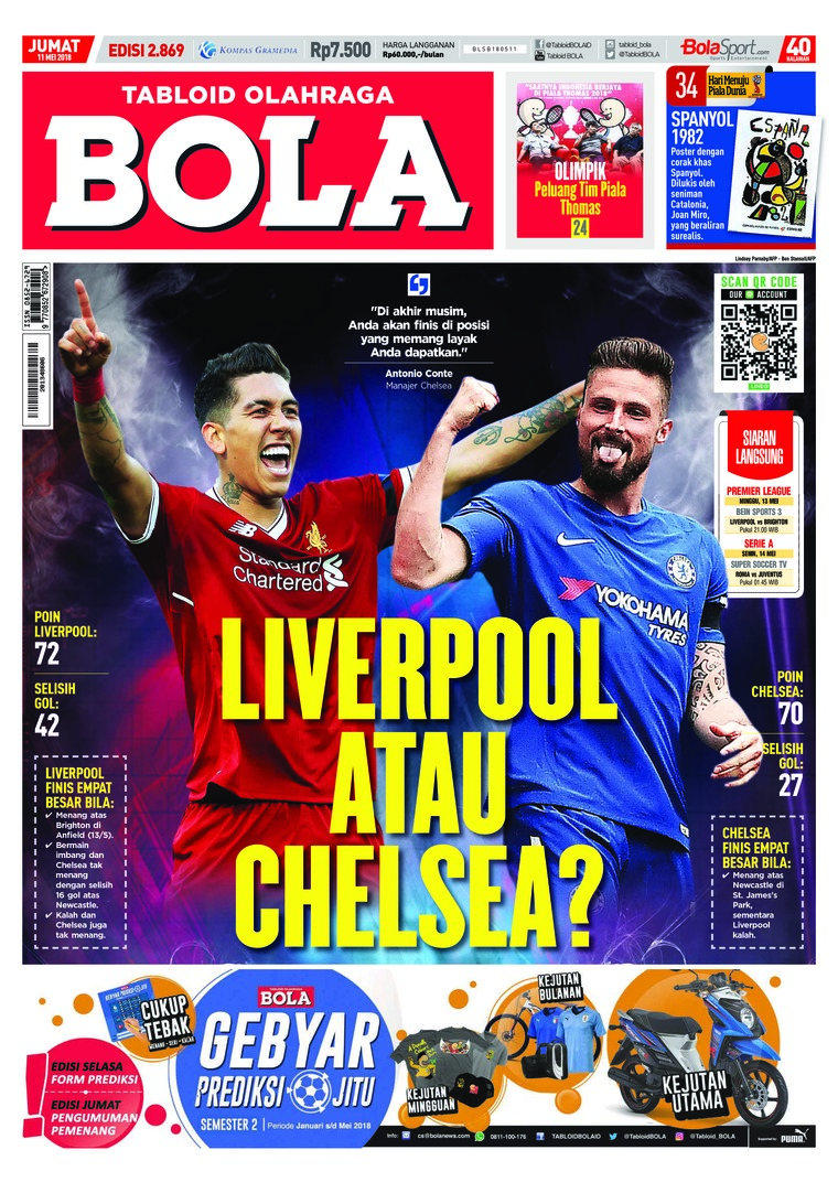 Majalah Digital Tabloid Bola Sabtu ED 2869 Mei 2018