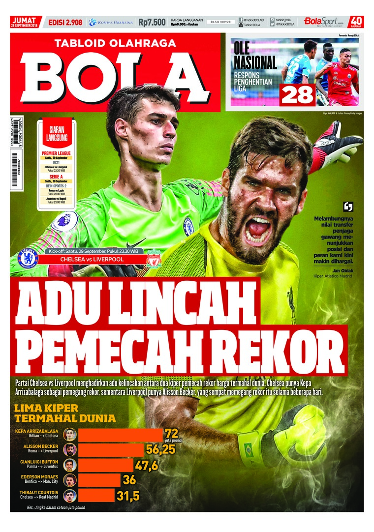 Majalah Digital Tabloid Bola Sabtu ED 2908 September 2018