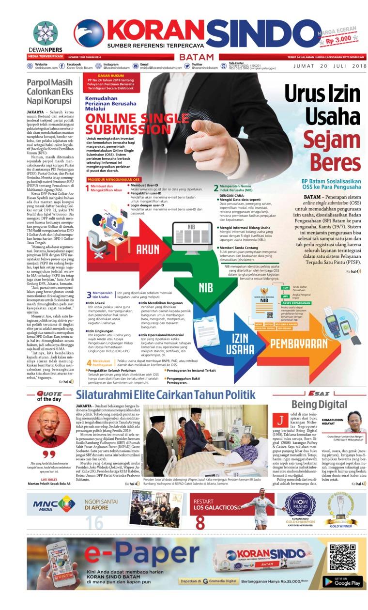 Koran Digital KORAN SINDO BATAM 20 Juli 2018