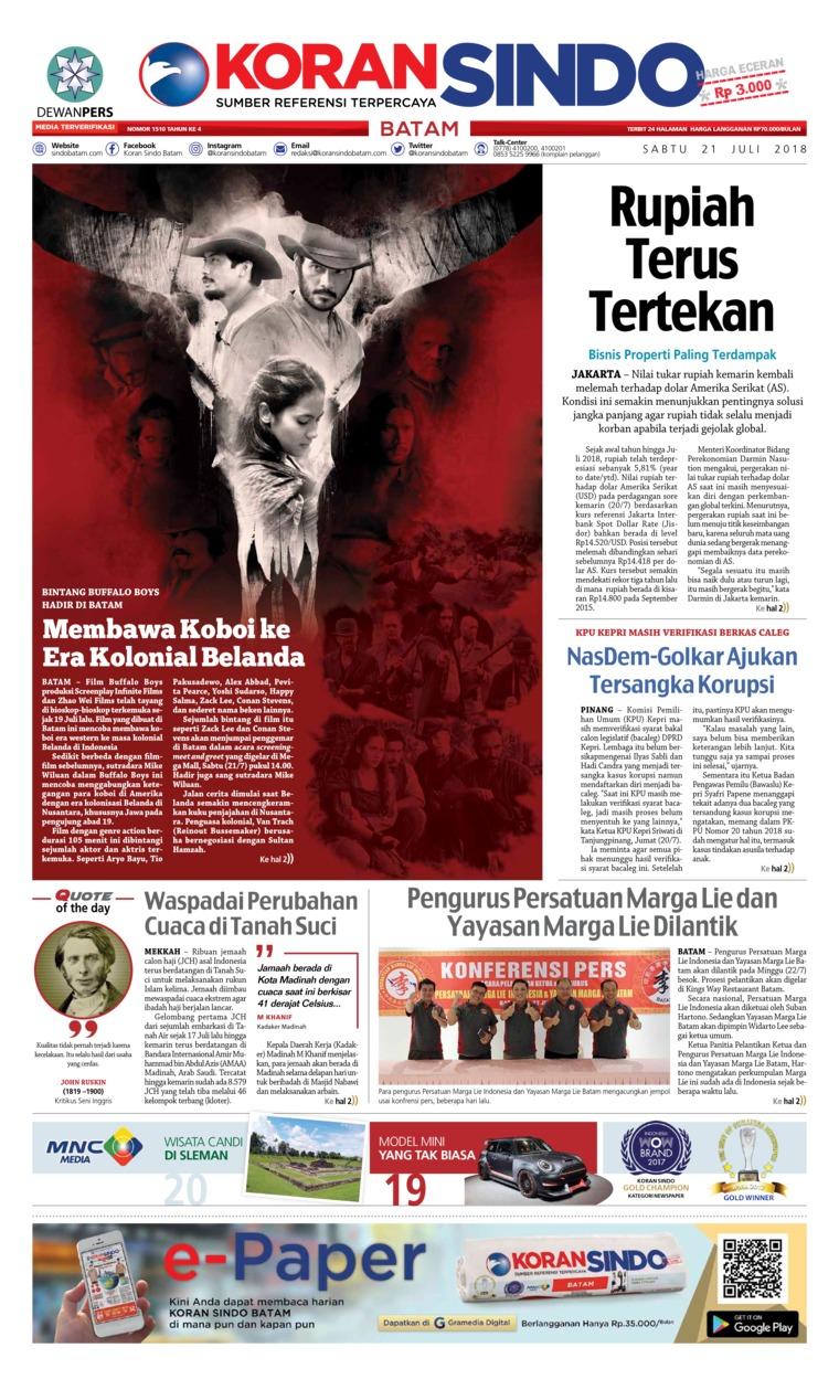 Koran Digital KORAN SINDO BATAM 21 Juli 2018