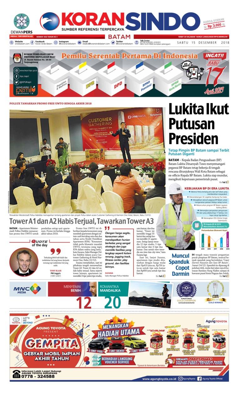 KORAN SINDO BATAM Digital Newspaper 15 December 2018