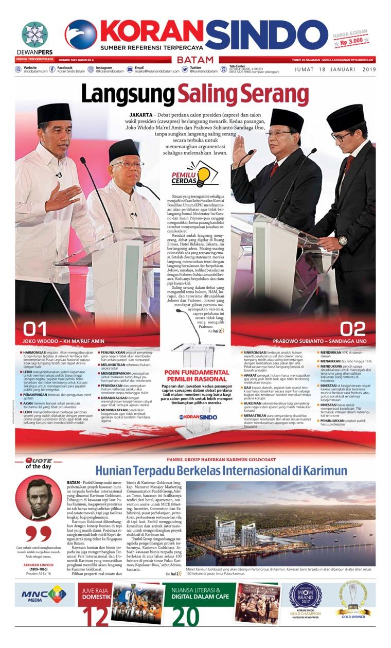 KORAN SINDO BATAM Digital Newspaper 18 January 2019