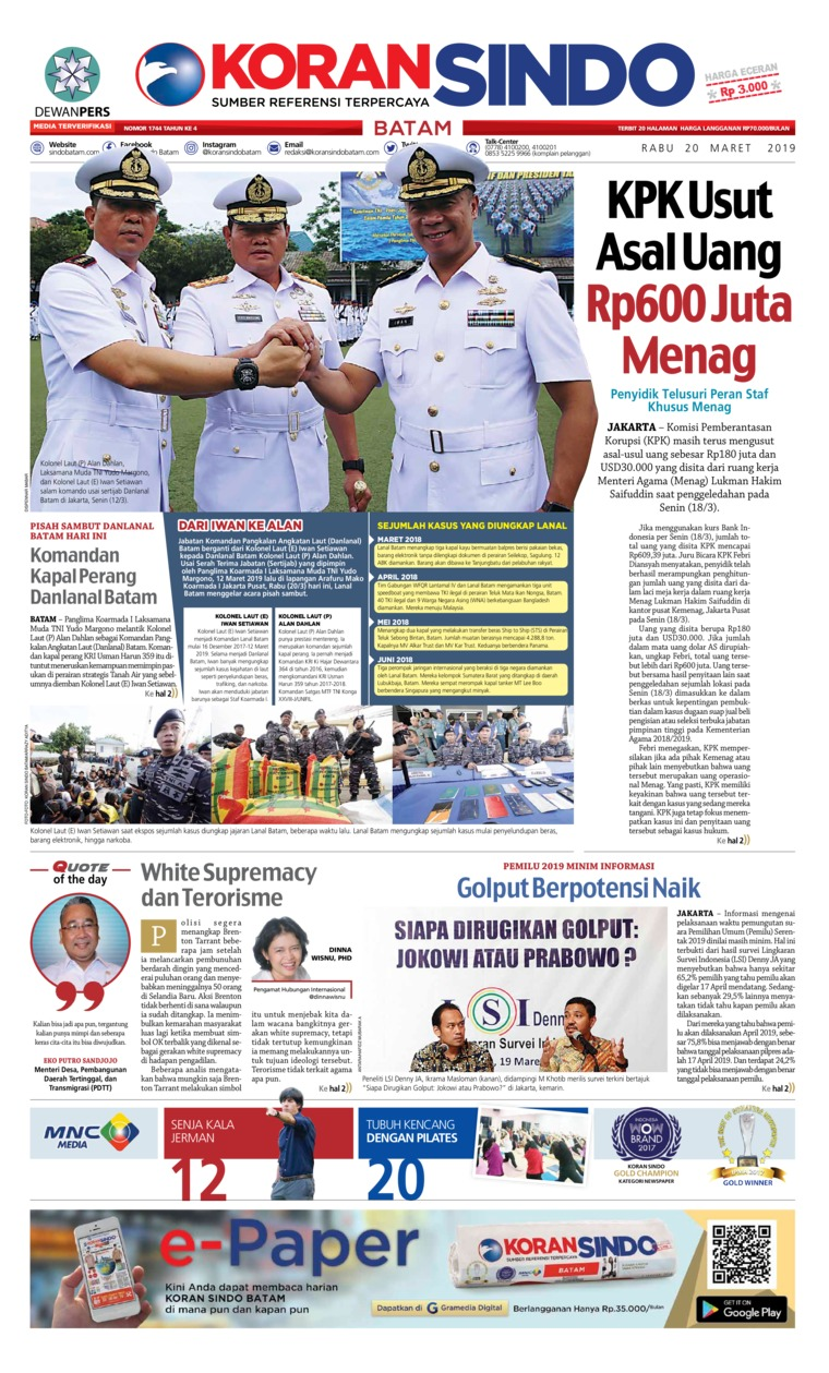 KORAN SINDO BATAM Digital Newspaper 20 March 2019
